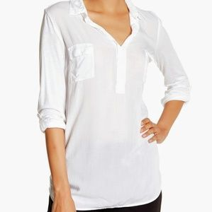 NWT Splendid White Spread Collar Knit Sleeve Shirt